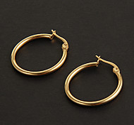 Fashion Simple 2.0CM Round Shape Golden Stainless Steel Hoop Earrings (1 Pair)