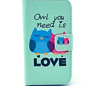 Owl Need Love Pattern PU Leather Case with Card Holder for Samsung Galaxy I8160