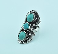 Vintage  Female Green Tibet Alloy Turquoise Adjustable Ring (Green)(1pcs)