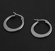 Fashion Simple 1.5CM Flat Shape Silver Stainless Steel Hoop Earrings (1 Pair)