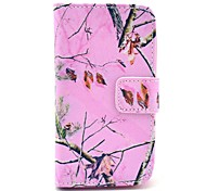 Pink Camo Tree Pattern PU Leather Case with Card Holder for Samsung Galaxy I8160
