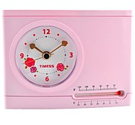 Timess™  Pink Times Pen Container Hygrometer Alarm Clock