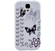 Grey Two Butterflies Pattern TPU Soft Case for Samsung Galaxy S4 I9500