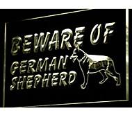 i838 Beware of German Shepherd Dog Neon Light Sign