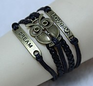 Vintage LOVE angel big eyes owl 18cm Unisex  Leather Wrap Bracelet(1 Pc)