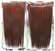 Hot Selling Colorful  Wholesale  Brown  Clip in Hair Extension  Synthetic Hair 24inch for Women