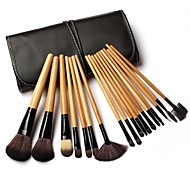 18pcs Makeup Brushes set Natural Timber/wood handle powder/Blush/concealer brush eyeshadow brush Cosmetic Brush Black Leather Bag