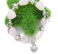 Natural Rose Quartz pêche en forme de coeur Wang bracelet en pierre de mariage