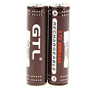 GTL ICR 3000mAh 18650 Battery (2pcs) with Overcharge Protection + 2 Pcs/Lot Hard Plastic Battery Storage Box