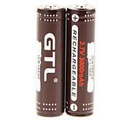 GTL ICR 3000mAh 18650 (2pcs) com sobrecarga Proteção + 2 Pcs / Lot plástico caixa de armazenamento da bateria