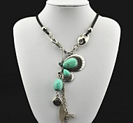 Toonykelly® Vintage(Butterfly)Antique Silver Crystal Turquoise Necklace(Green)(1 Pc)