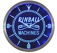 nc0448 Pinball Machine Game Room LED Neon Wanduhr
