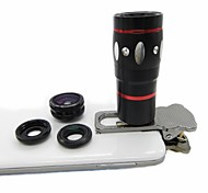 4 em 1 lente grande angular / Macro Kit Lens/180 Fish Eye Lens / 10X Lente para iPhone / iPad e Celular