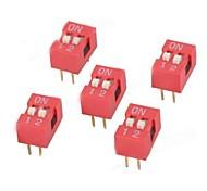 Interruptor DIP M2 dígitos - rojo + blanco (5 PCS)