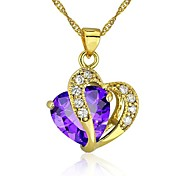 Exquisite 24KGP Lovely CZ Lady Pendant Gold Plated CZ Pendant Necklace With Chain
