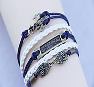 Women's  Fashion Owl Best Friend and Archors Handmade Woven Bracelet