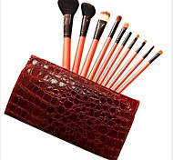 10Pcs Fashion Pack with Animal Wool Cosmetic Brush Set