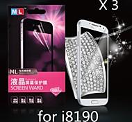 diamante anti-radiazioni protezione dello schermo per Samsung s3 mini i8190n (3pcs)