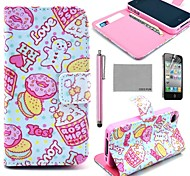 COCO FUN® Lovely Heart Cake Pattern PU Leather Full Body Case with Screen Protector,Stylus and Stand for iPhone 4/4S