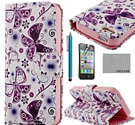 COCO FUN ® Purple Butterfly PU Leather Full Body Case met Screen Protector, Stand en Stylus voor iPhone 4/4S