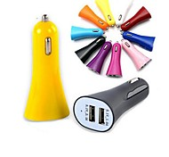 Mini Colorful Universal  2-port  USB Car Charger for iPod iPhone Samsung  (Random Color)(5V/1A)