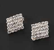 Fashion Rhombus Shape Diamanted Clip Earring(1 Pair)