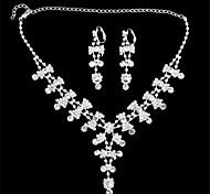 Silver Plated-tachonado diamante-Pendientes y collar fijó para las señoras nobles (1 Juego) (E)
