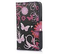 Papillons noirs PU Housse en cuir avec support et fente pour carte pour Sony Xperia E C1605