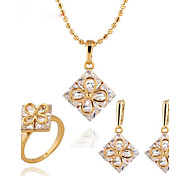 DJE002618k Gold/ Platinum Electroplate Square Rectangular Jewelry Set (1Set)