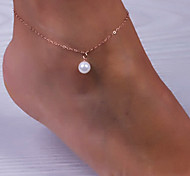 shixin® tornozeleira do vintage liga de ouro pérola (1 pc) jóias