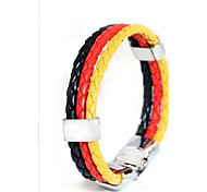 European Football Memorial  22cm Unisex   Leather Bracelet(Red,Blue)(1 Pc) Christmas Gifts