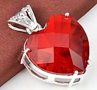 Vendita calda Cuore Rosso del quarzo 1pc pendente della pietra preziosa d'argento