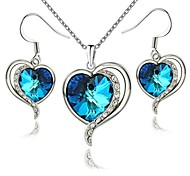 18K White Gold Plated The Heart of Ocean Austrian Blue Crystal Pendant Necklace Earrings Set