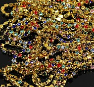 3.5Meters Golden Tone Colourful Crystal Rhinestone Chain Line 3D Alloy Nail Art Decoration