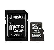 Kingston 4GB microSDHC Class 4 Flash Memory Card with SD Adapter