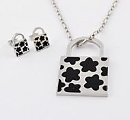 Fashion Flower Titanium Steel  Lock Necklaces and Earrings Jewelry Sets