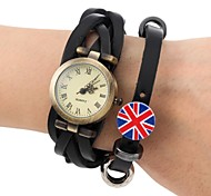 Men's Fashion Style  Retro Dial Leather Weave  British Flag Band  Wrist Watch(Assorted Colors)