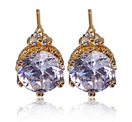 Women'S New Fashion  Pearl Crystal Crown Gold Plated Stud Earring