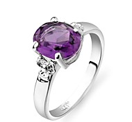 Brilhando Áustria roxo anel de cristal de safira de charme