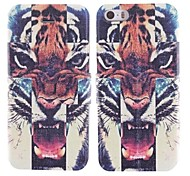 A Tooth Tiger Head Design PU Full Body Case with Card Slot for iPhone 5/5S