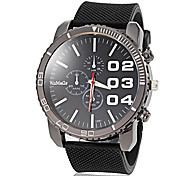 Men's Simple Round Dial Silicone Band Quartz Analog Casual Watch (Assorted Colors)