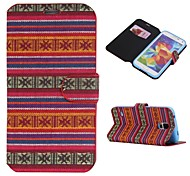 Cotton Fabrics Full Body Case with Stand and Card Slot for Samsung Galaxy S5 I9600(Assorted Colors)