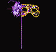Elegant Flower and Sequin Purple PVC Holiday Half-face Mask