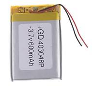 3.7V 600mAh Lithium Polymer Battery for Cellphones  MP3  MP4 (4*30*48)