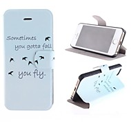Free Bird Patterns PU Full Body Case with Card Slot and Stand for iPhone 5/5S