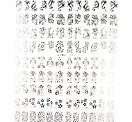 108PCS Mixed Flower Pattern Silver Metal Nail Art Stickers