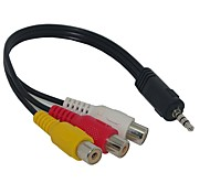 3,5 mm Jack plug naar 3 RCA-adapter AV-kabel voor Audio Video 20cm