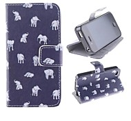 Multiple Pose Little Elephant Pattern PU Full Body Case with Card Slot and Stand for iPhone 4/4S