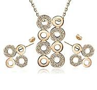 Brand Design 18K Rose\White Gold Plated Stellux Austrian Rhinestones Circle Stud Necklace Earrings Set