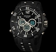 Men's Military Style Multi-Functional Dual Time Zones Rubber Band Wrist Watch (Assorted Colors)